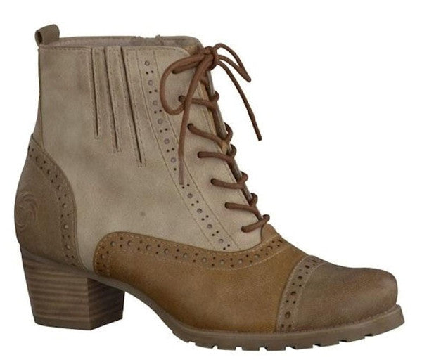 Marco Tozzi Tan Brogue Low Heel Ankle Boots S484