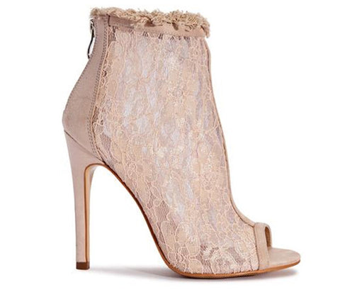 Viola Floral Nude Lace Mesh Boots S510