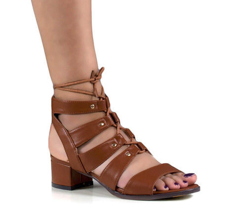 Clara Tan Faux Leather Lace Up Gladiator Sandals S442