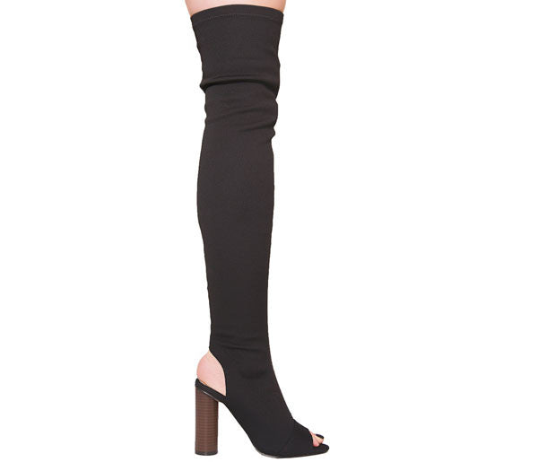 Maya Black Knitted Over The Knee Boots S466