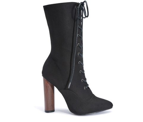 Tamara Black Lace Up Round Heel Boots S503