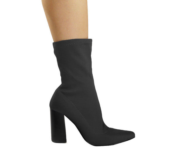 Oriana Black Lycra Pointy Ankle Boots S479