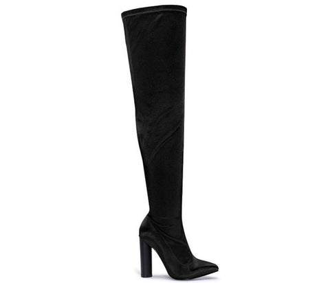 Raina Black Satin Lycra Over The Knee Boots S492
