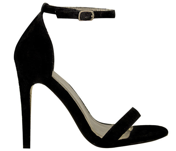 Kara Black Suede Barely There Heels S506