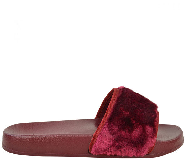 Isla Burgundy Fur Slider Sandals s477