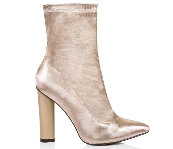 Paige Champagne Satin Lycra Ankle Boots S490