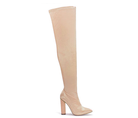 Raina Champagne Satin Lycra Over The Knee Boots S493