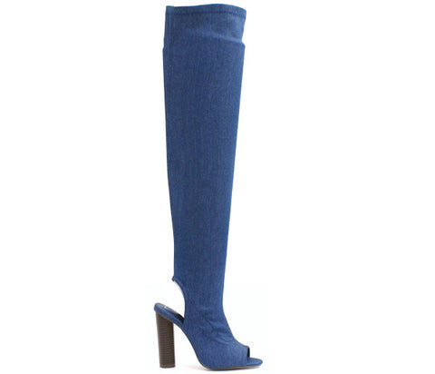 Maya Denim Over The Knee Boots S475