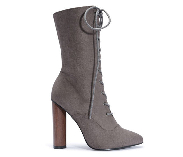Tamara Grey Lace Up Round Heel Boots S504