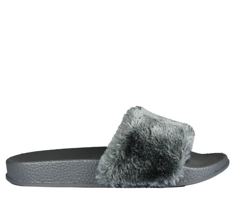 Isla Grey Fur Slider Sandals s469