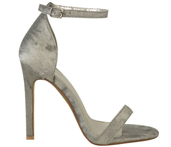 Kara Grey Crushed Velvet Barely There Heels S462