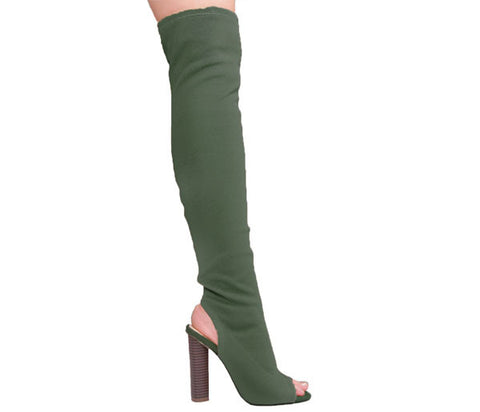Maya Khaki Knitted Over The Knee Boots S470