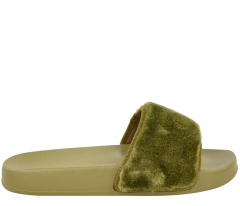 Isla Khaki Fur Slider Sandals s478