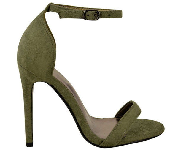 Kara Khaki Suede Barely There Heels S463