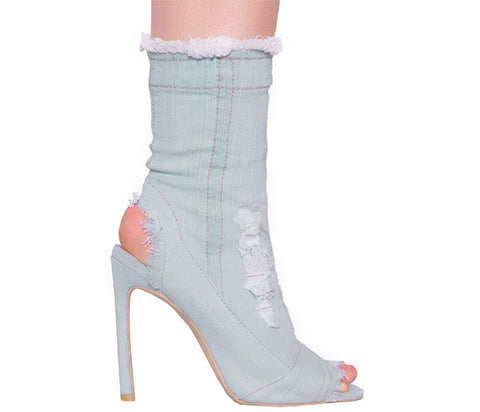Una Light Denim Peep Toe Ankle Boots S507