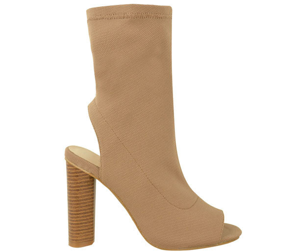 Lana Mocha Knitted Peep Toe Ankle Boots S464