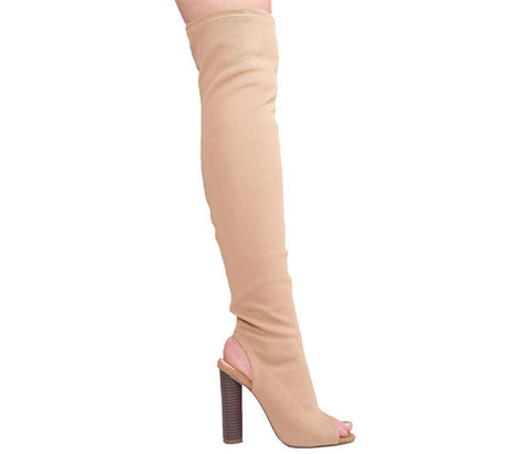 Maya Mocha Knitted Over The Knee Boots S467