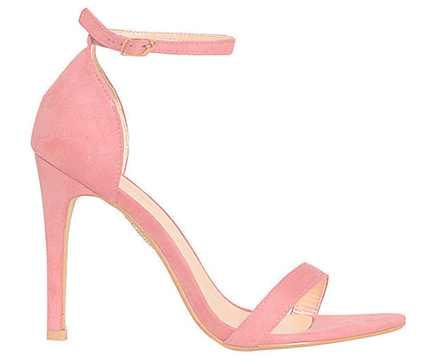 Kara Pink Blush Suede Barely There Heels S496