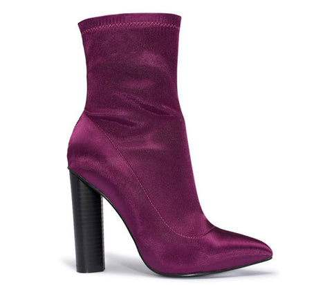 Paige Purple Satin Lycra Ankle Boots S491