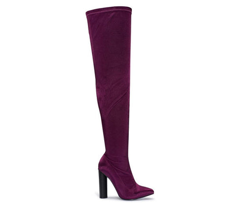 Raina Purple Satin Lycra Over The Knee Boots S494
