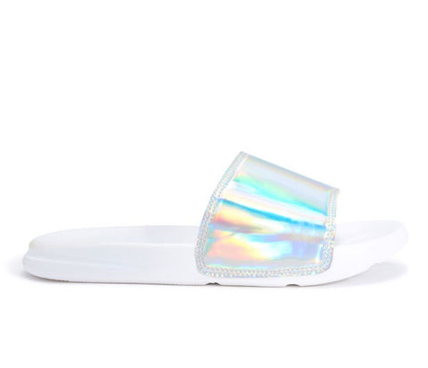 Isla Silver Iridescent Slider Sandals s488