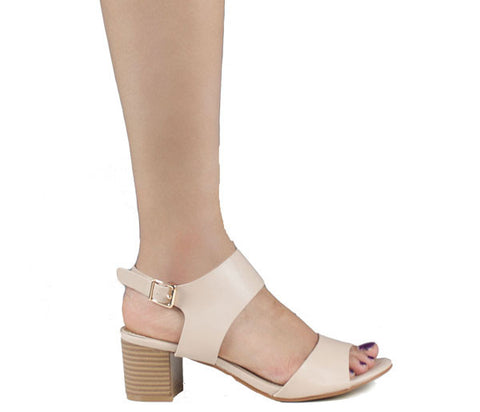 Elena Nude Strappy Peep Toe Sandals S446
