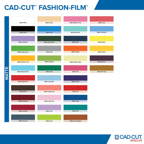 Fashion Film Heat Transfer Vinyl 15x10 yards Matte