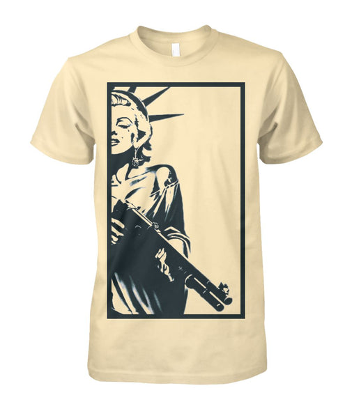 Strapped Marilyn as Lady Liberty