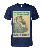 Load image into Gallery viewer, Responsibility and Character - Army Vintage Poster Tee
