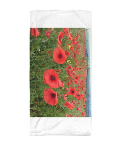 Flanders Fields Poppies - Rememrance Towel Beach Towel 30x60