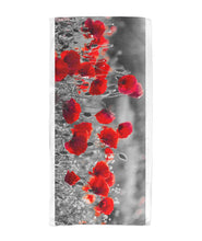 Load image into Gallery viewer, Flanders Fields Towel  - Black and White w/ Red Poppies Beach Towel 30x60