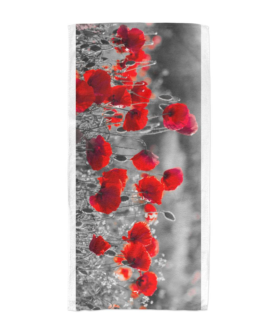 Flanders Fields Towel  - Black and White w/ Red Poppies Beach Towel 30x60