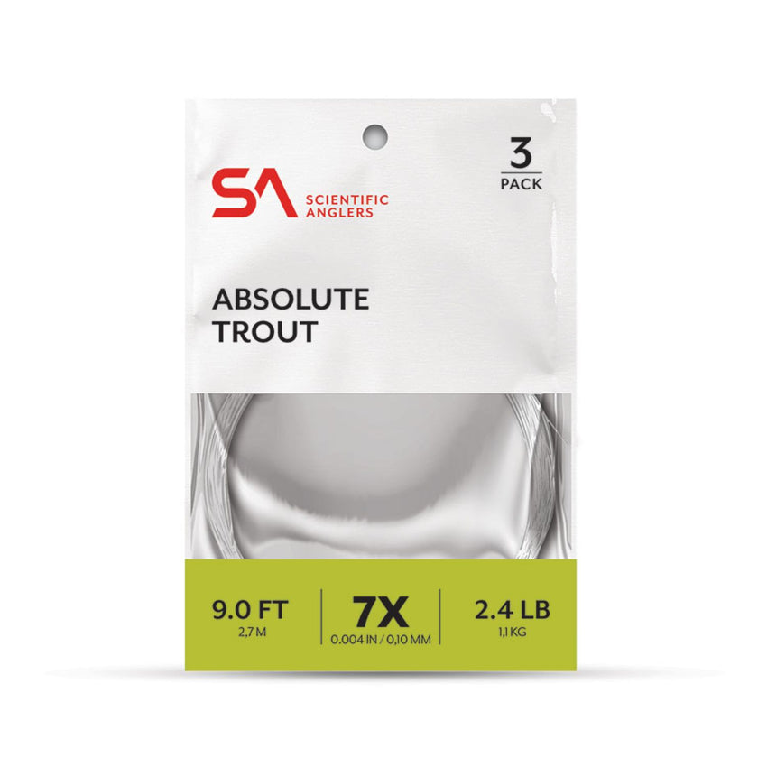 Scientific Anglers Absolute Trout 7.5 ft 6X Leader 3 Pk