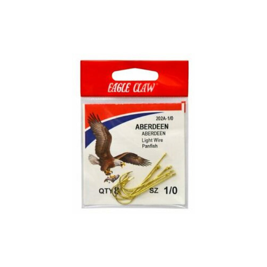 Eagle Claw Gold Abrdn Hooks 10Pk Size8