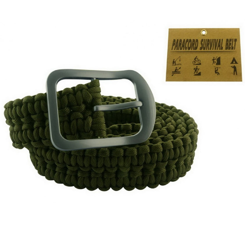 Impulse Product Paracord Belt with Steel Buckle Olive Green