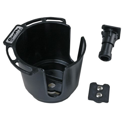 Scotty Cup Holder w-Rod Hldr Post and Bulkhead-Gnnel Mnt Blk