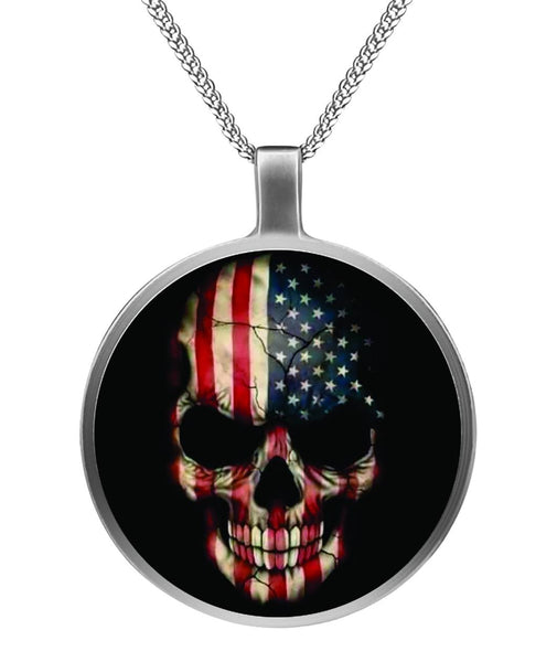 American Skull Necklace Circle Necklace