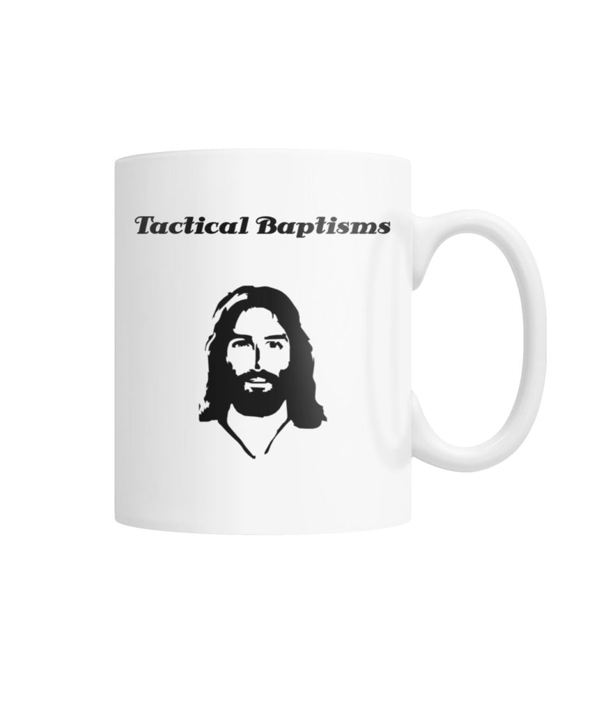 Tactical Baptisms - Jesus- Waterboarding Instructor Cross White Coffee Mug