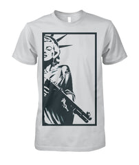 Strapped Marilyn as Lady Liberty Provocative Gun Tee