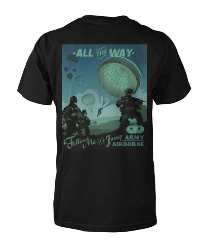 Follow Me and Jump Army Airborne Vintage Poster Tee