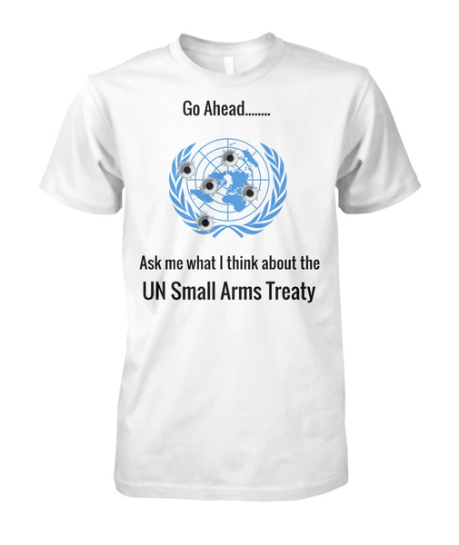 Ask Me What I Think About the UN Arms Treaty - UN Logo Bullet Holes
