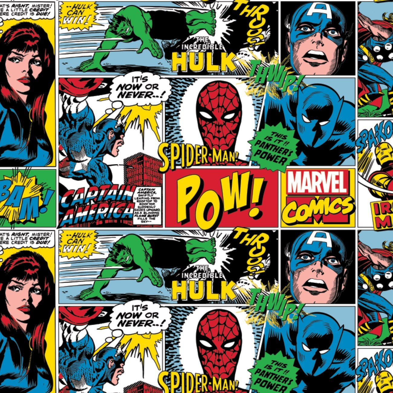 Marvel Action All Around - Printed Flannel by Marvel Comics- Multi