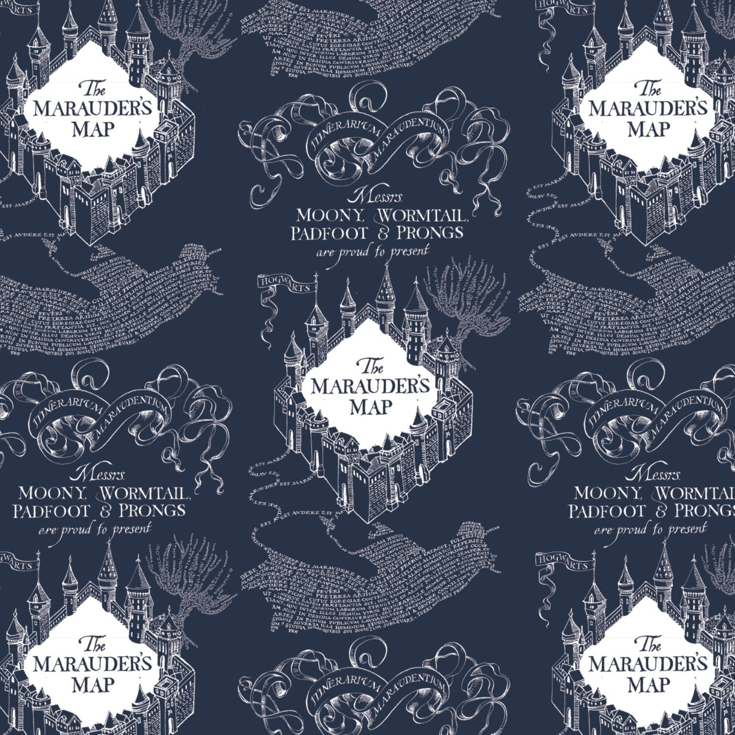 Mauraders Map - Printed Flannel From Harry Potter and Wizarding World - Dark Blue