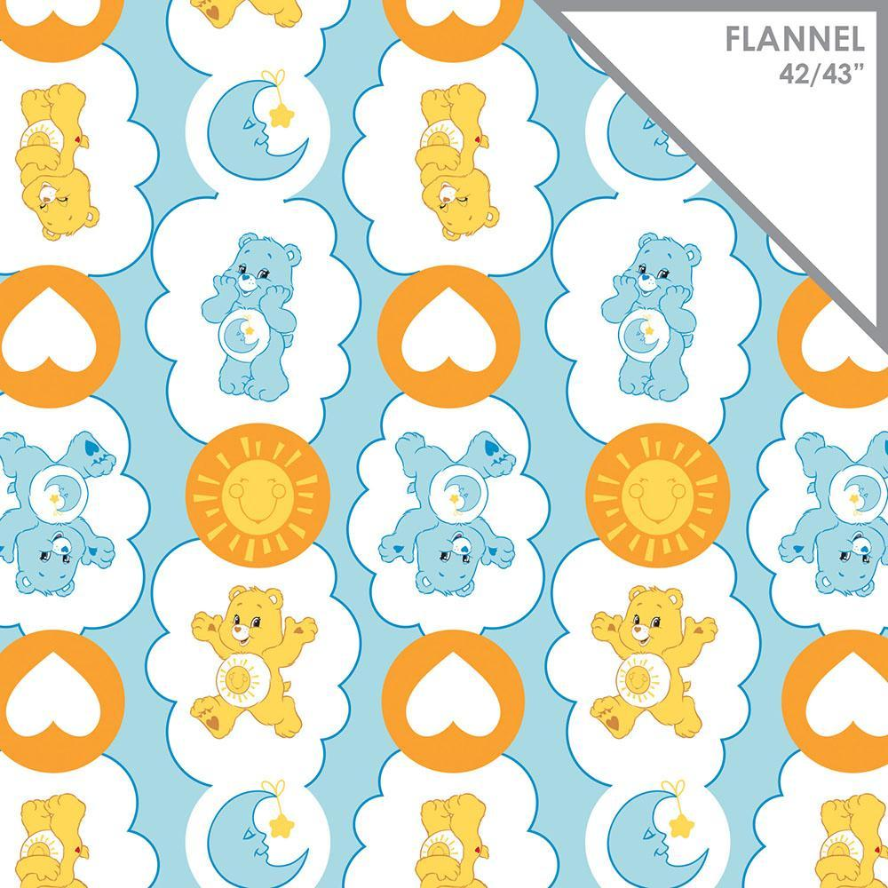 Care Bears-Funshine & Bedtime Bears - Printed Flannel by Cloudco Entertainment - 1yd