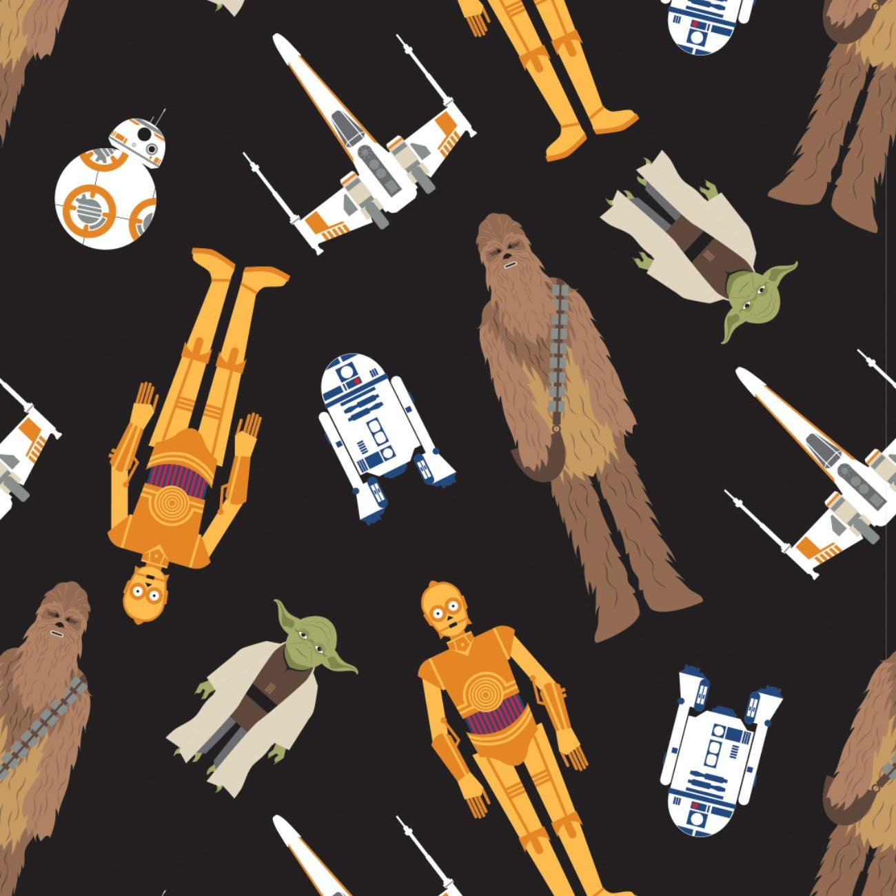 Star Wars - Tossed In Space Cotton - Black