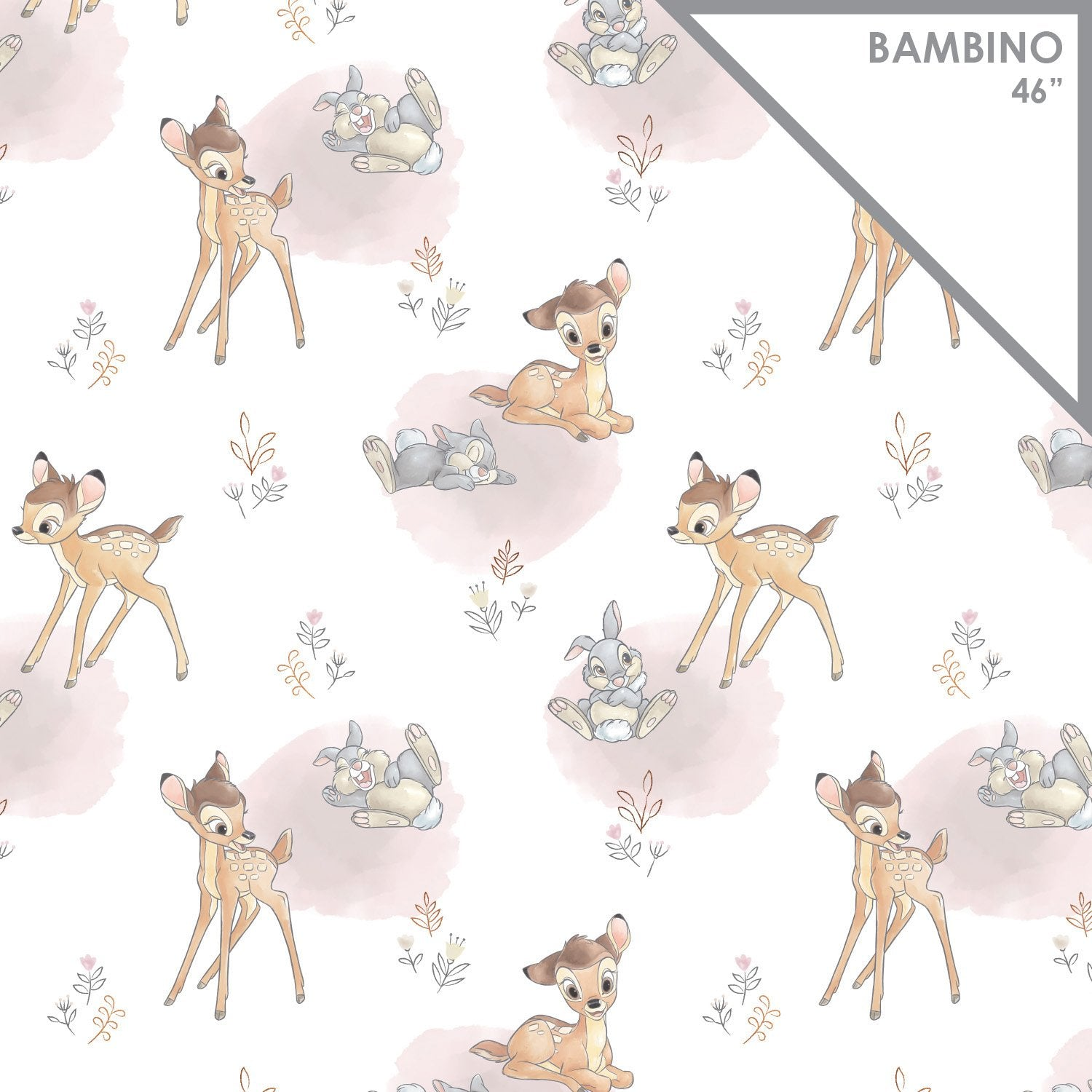 Licensed Swaddle Muslin - Bambi - Meadow Friends - White with metallic