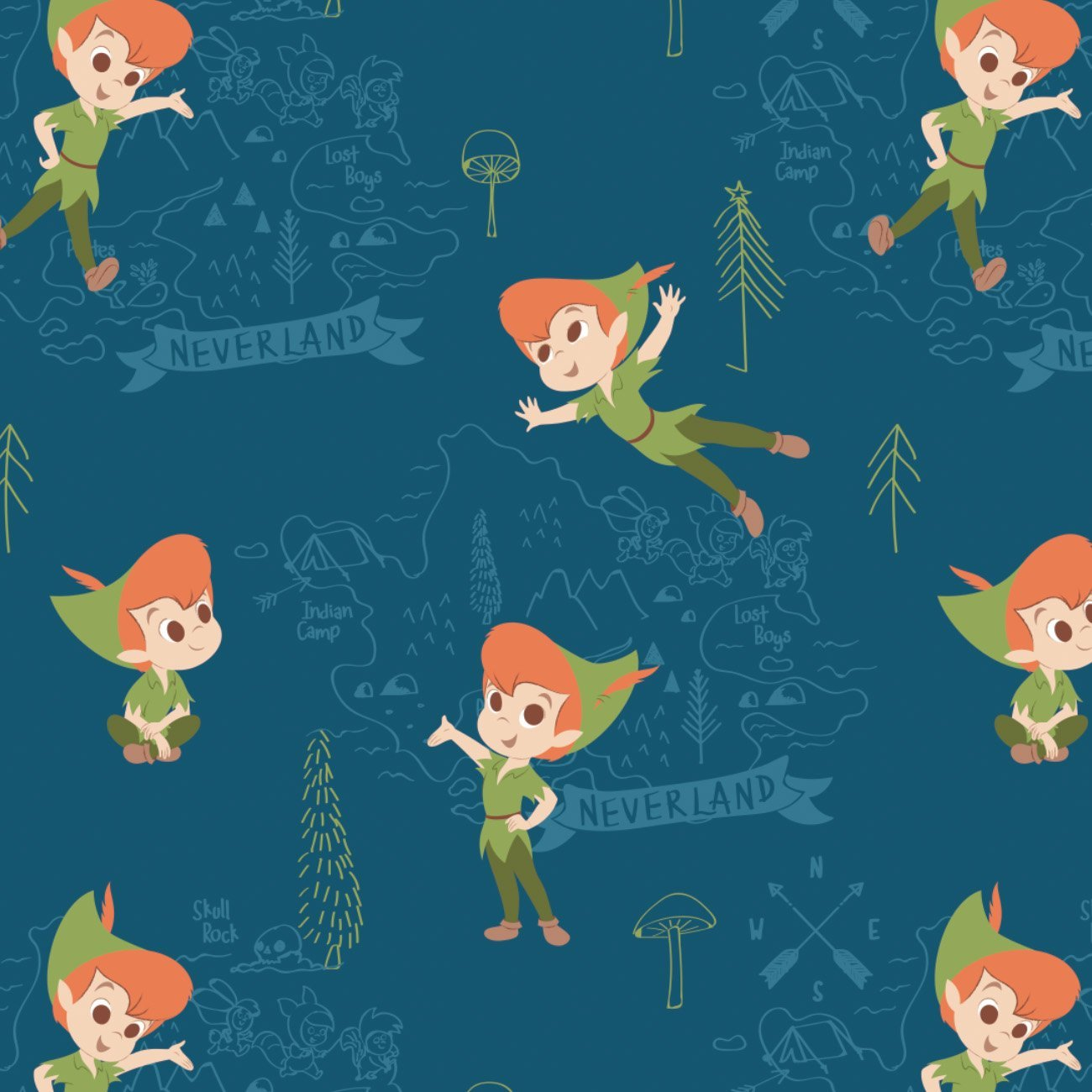 Peter Pan And Tinker Bell Collection - Neverland Adventures - Printed Flannel by Disney