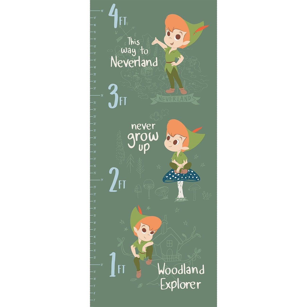 Peter Pan And Tinker Bell Collection - Peter Pan Growth Chart Half Panel - Green