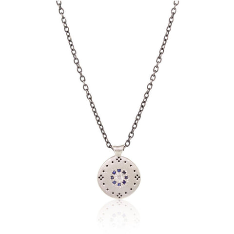 Cluster Necklace with Sapphire and Diamond
