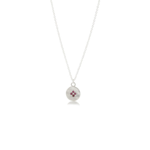 Four Star Wave Necklace with Ruby
